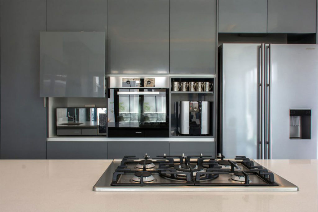 high-gloss grey kitchen