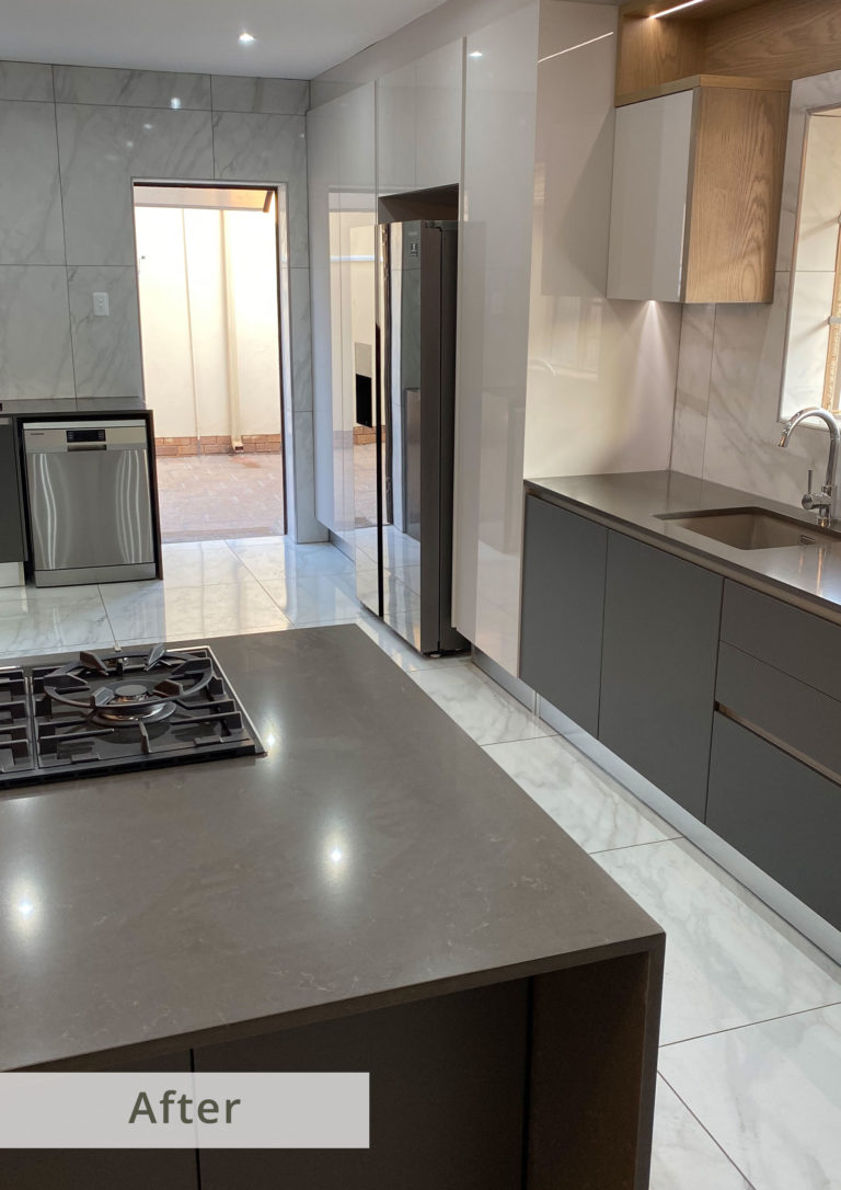 The Client's kitchen after Eurofit's team of specialists redesigned and fitted out this kitchen with our Turnkey Kitchen Planning & Design Solution.